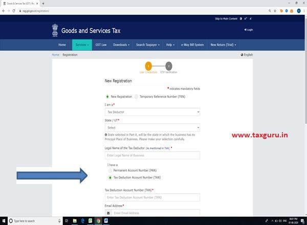 take registration based on PAN or TAN