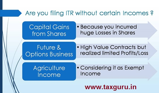 Are you filling ITR without certain Incomes