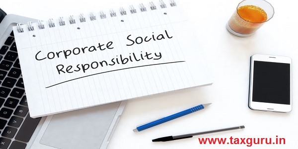 Corporate Social Responsibility - handwritten text in a notebook on a desk - 3d render illustration