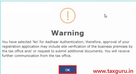 GST Registration - Aadhaar Authentication warning