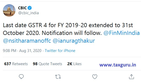 Last date GSTR 4 for FY 2019-20