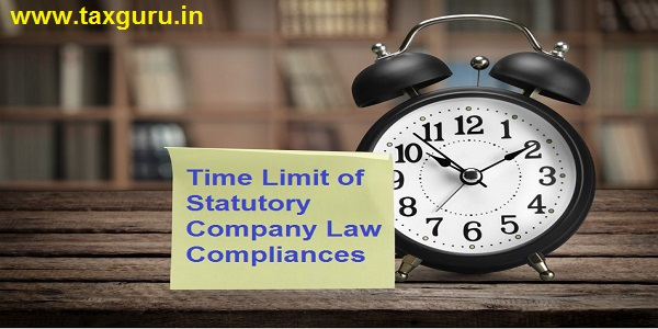 time limit of statutory Company Law compliances