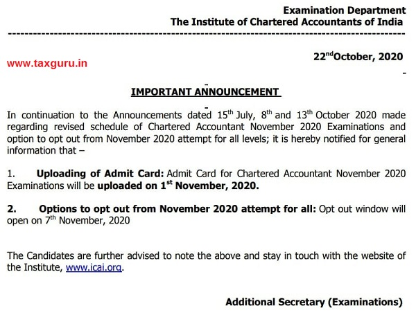 Admit Card for Chartered Accountant November 2020