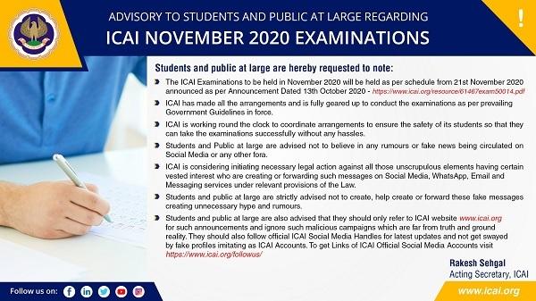 Advisory to Students and Public at Large Regarding ICAI November 2020 Examinations