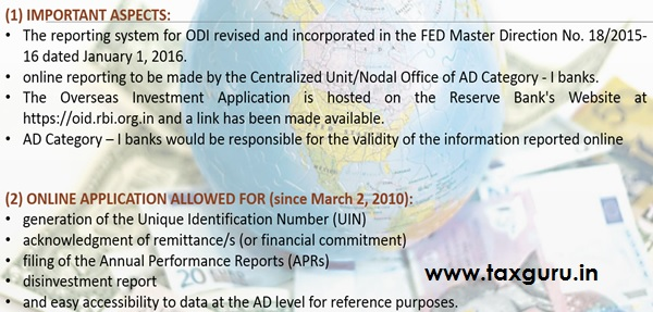 General procedural instructions- Online Reporting Allowed for ODI Transactions