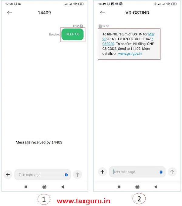 How do I get help on Nil Form CMP-08 filing through SMS
