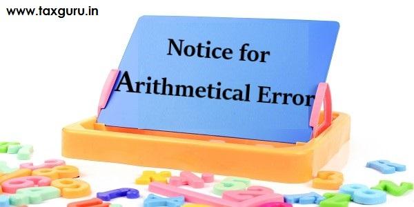 Notice for Arithmetical Error