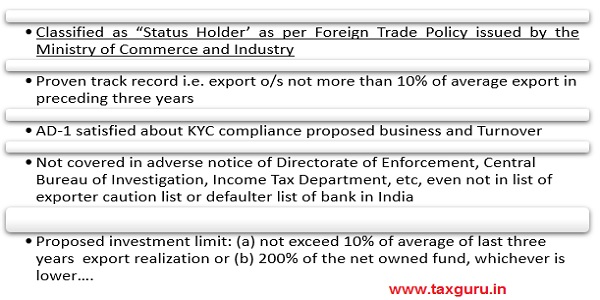 Overseas investments by proprietorship concerns-Unregistered Partnership firm- Eligibility Criteria-Approval Route Condition