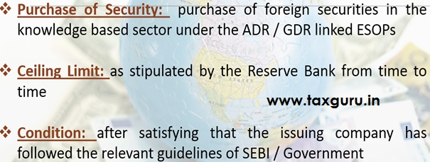 Purchase of foreign securities under ADR and GDR linked Stock Option Scheme