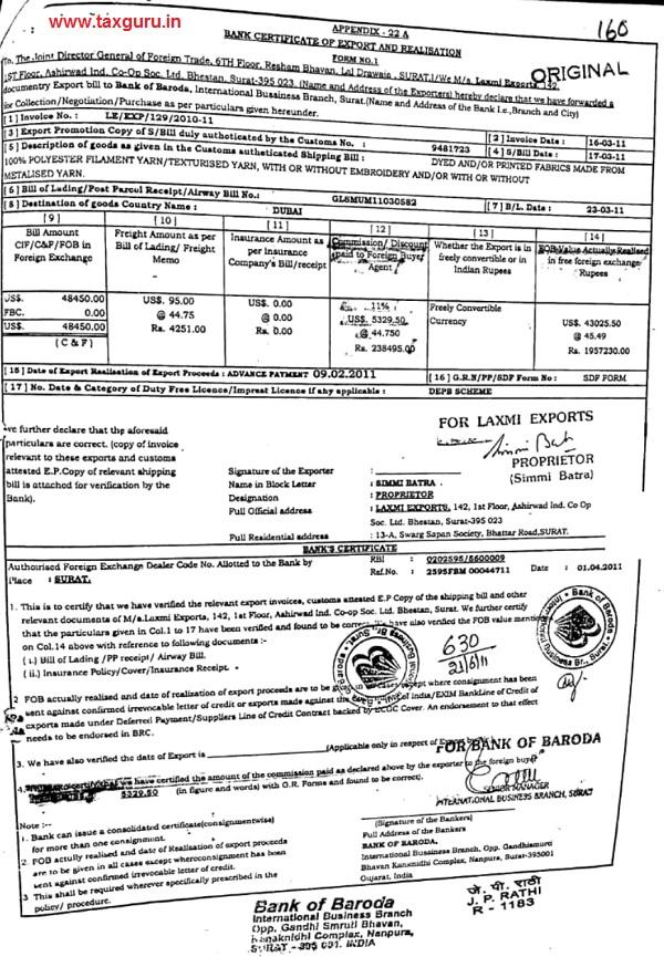 bank realization certificate
