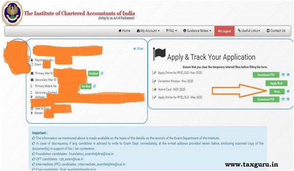 Admit Card for CA Image 2