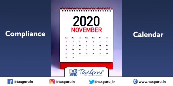 Compliance calendar november 2020