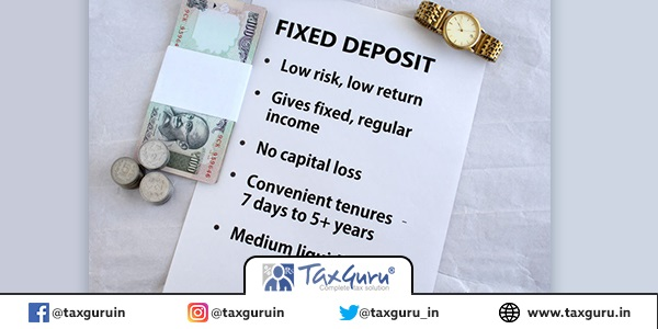 Fixed deposit, or FD, investment in Indian rupees concept, highlighted by listing its key features and using Indian currency