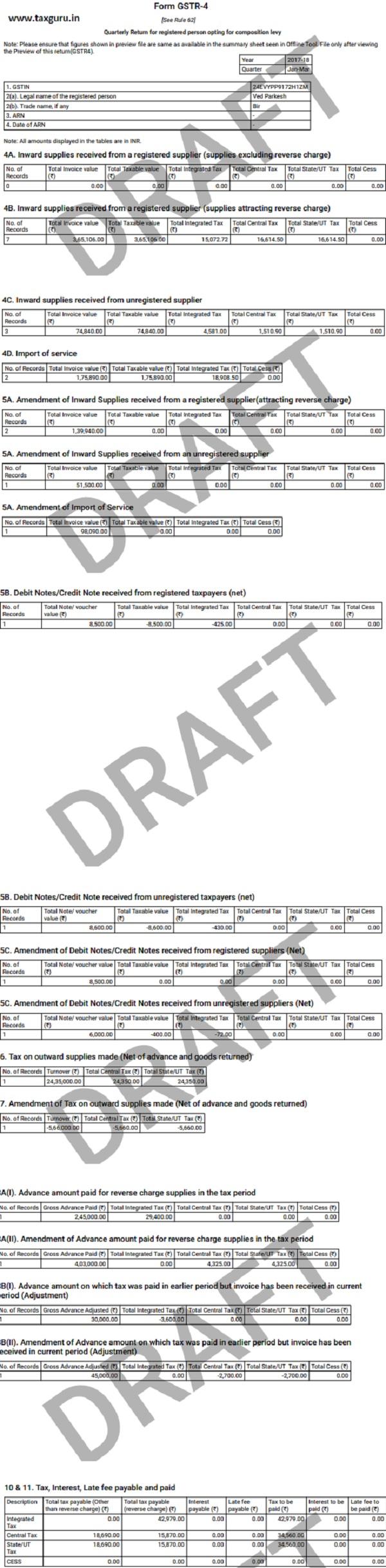Form GSTR-4 - Quarterly Return 139