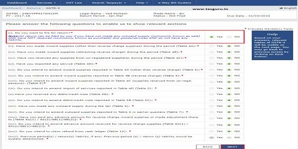 Form GSTR-4 - Quarterly Return 4