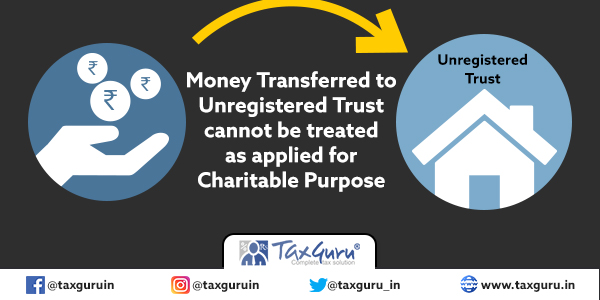Money Transferred to Unregistered Trust cannot be treated as applied for Charitable Purpose