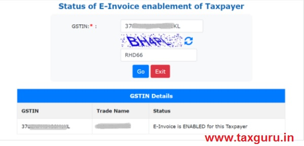 Status of E-Invoice enablement of taxpayer