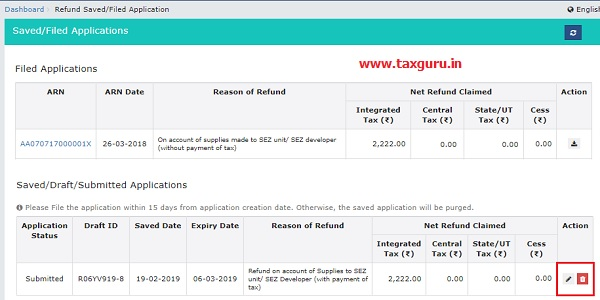 View Submitted or Saved Application for Refund 2