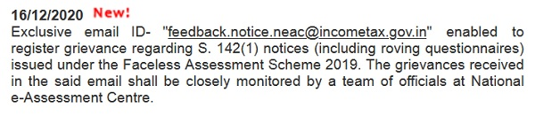 Email id to register grievance related to Faceless Assessment