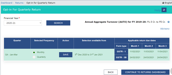GSTR-1 and GSTR-3B showing Monthly and their respective due dates