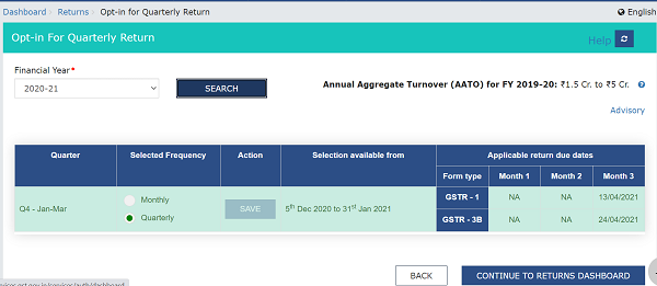 GSTR-1 and GSTR-3B showing Quarterly and their respective due dates