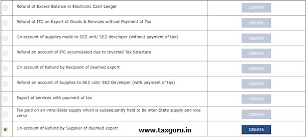On account of Refund by Supplier of Deemed Export