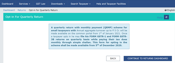 Opt-in for Quarterly Return before 5-Dec-2020