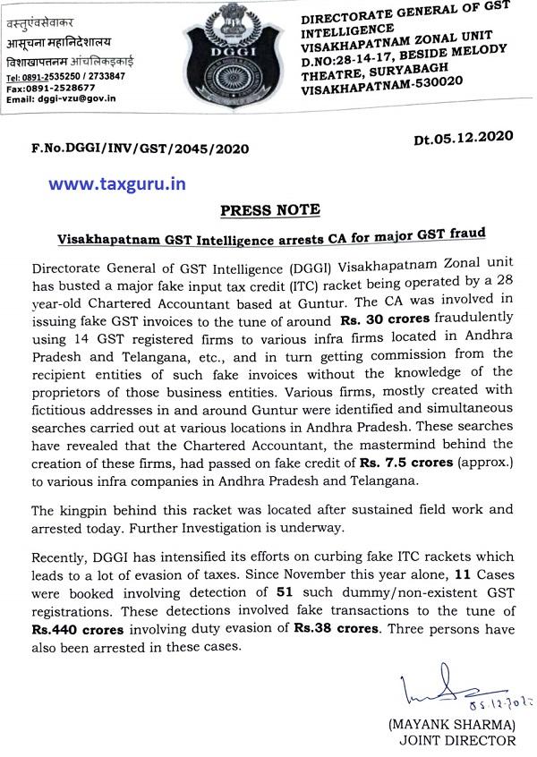 Visakhapatnam GST Intelligence arrests CA for major GST fraud