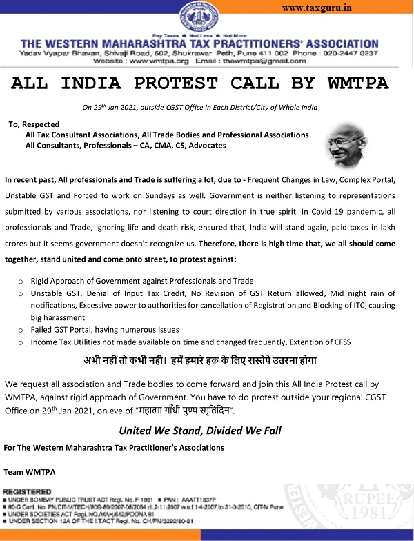 All India Protest Call against GST Income Tax Issues by WMTPA