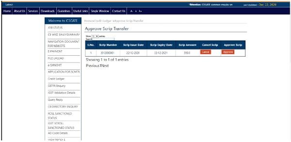 Approve Scrip Transfer Request 2