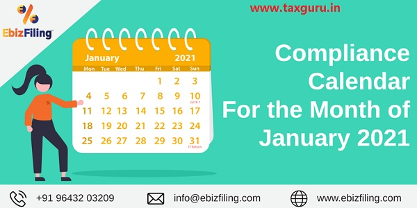 Compliance Calender for the month of January 2021