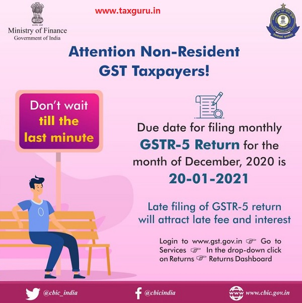 Due date for filing monthly GSTR-5 Return for the month of December, 2020 is 20-01-2021