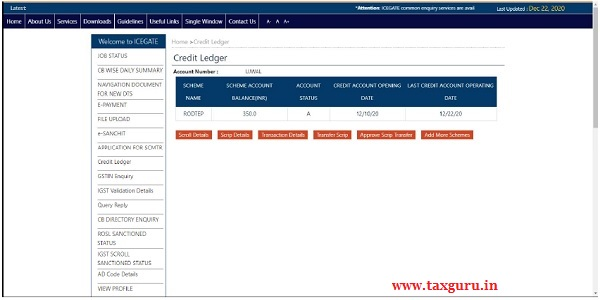 Step 4) After Credit Ledger account creation is done by the user, a grid view with the following details will be displayed to the user