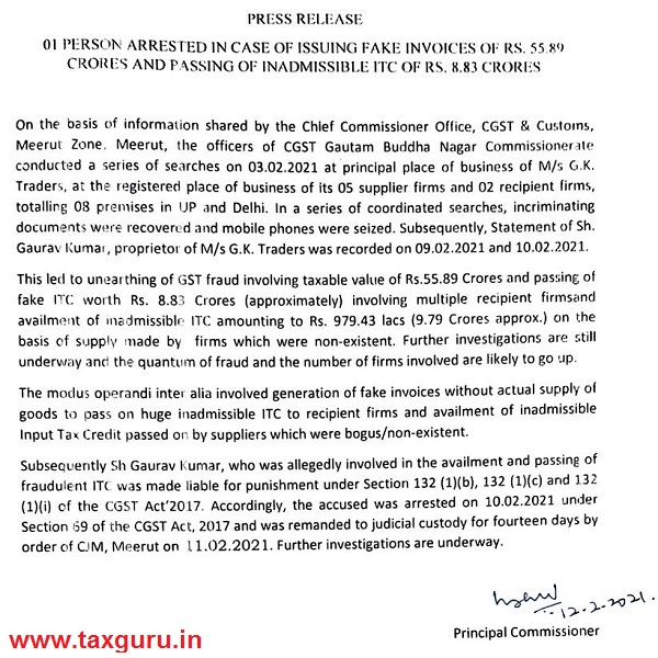 01 Person Arrested In Case of Issuing Fake Invoices of Rs.5589
