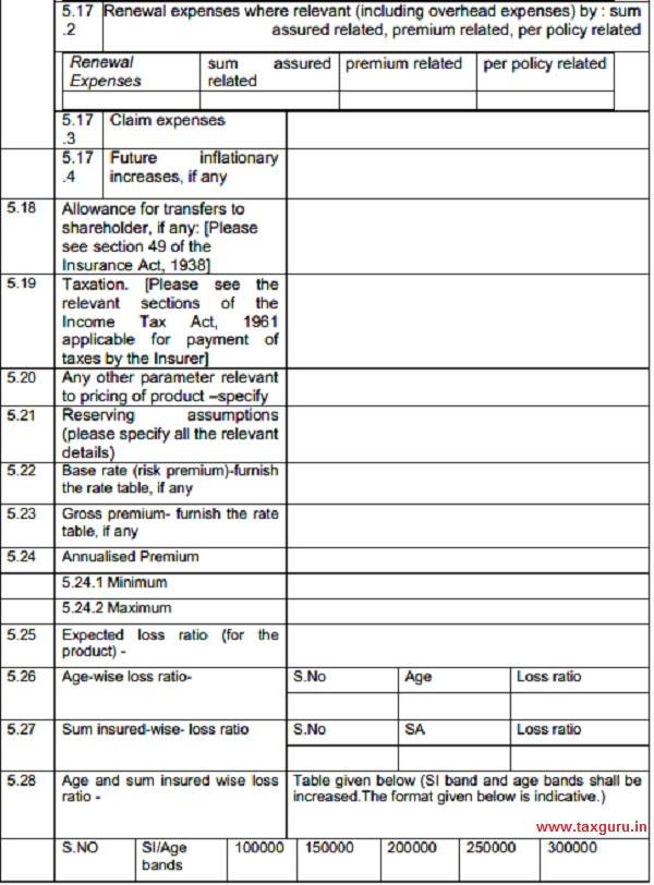Form IRDAI-UNF-PASP 1