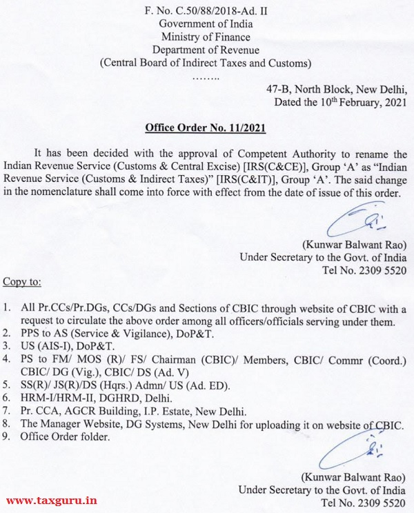 Office Order No. 11-2021, Dated 10.02.2021