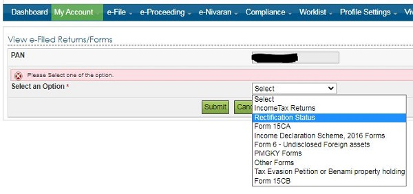 image10 Filing of Rectification request under section 154 of Income Tax Act