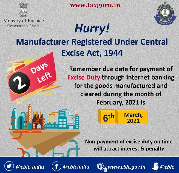 Attention Manufacturer registered under Central Excise Act, 1944!