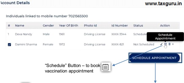 Booking Appointment for Vaccination