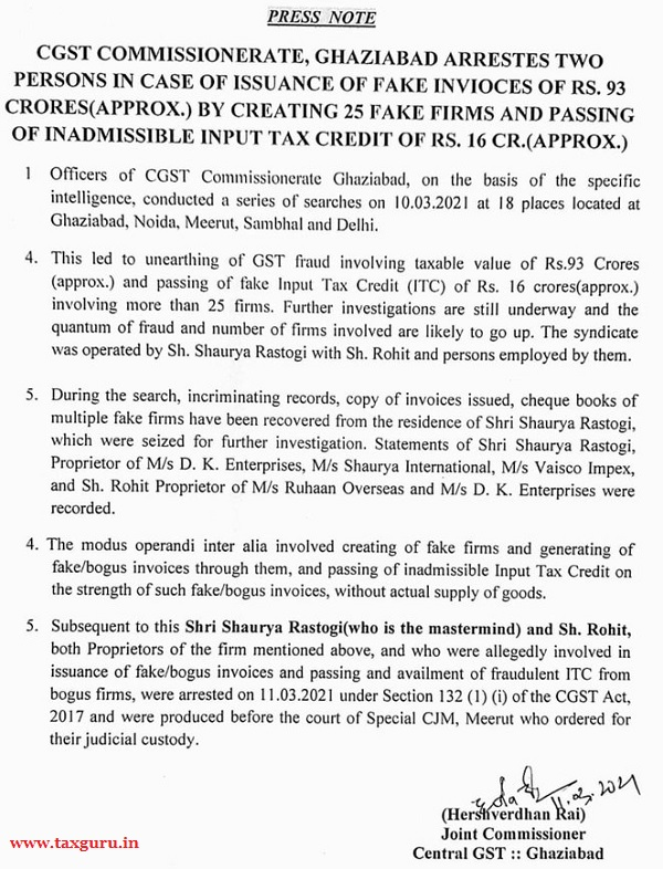 CGST Commissionerate, Ghaziabad Arrestes Two Persons in Case of Issuance of Fake Invioces of Rs. 93 Crores (Approx.) by Creating 25 Fake Firms and Passing of Inadmissible Input Tax Credit of Rs. 16 Cr.(Approx.)