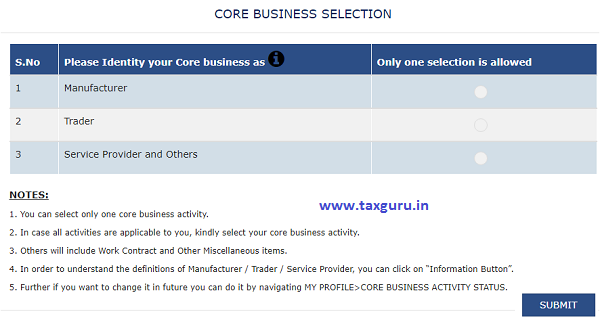 GSTN New Functionality of SELECTION OF CORE BUSINESS