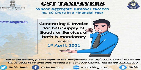 Generating E-Invoice for B2B Supply of Goods Services or both is mandatory w.e.f. 1st April, 2021