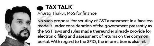 No proposal for scrutiny of GST assessment in a faceless mode