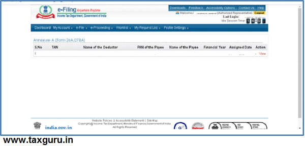 Procedure at E-filing portal of CA-2