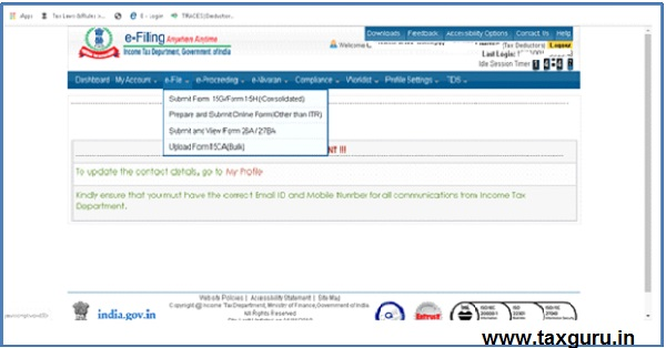 Procedure at e-filing portal of Deductor –1