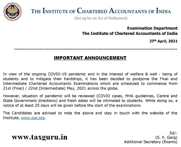 CA Final and Intermediate Exams Postponed
