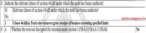 Clause 8(a) Part A of Form 3CD