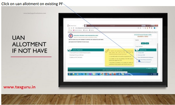 Click on uan allotment on existing PF