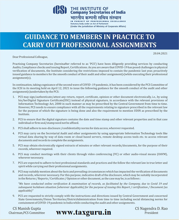 Guidance to members in practice to carry out Professional Assignments