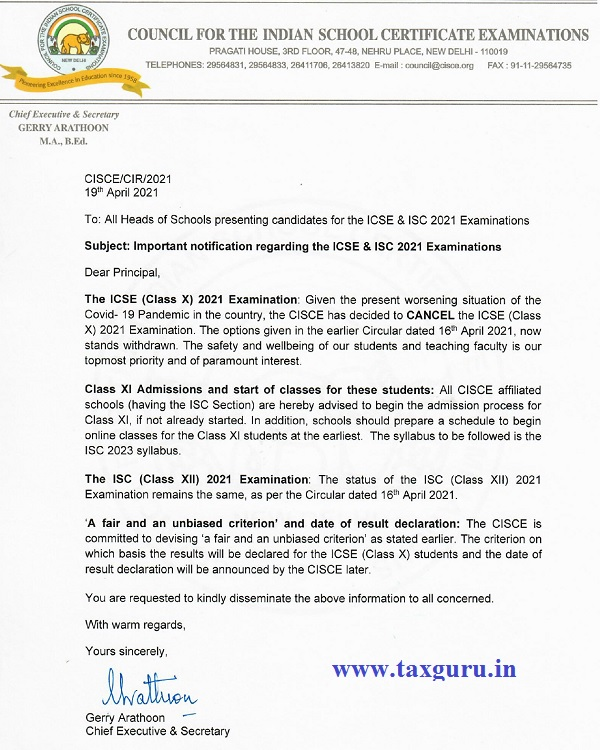 ICSE (Class X) 2021 Examinations cancelled by CISCE